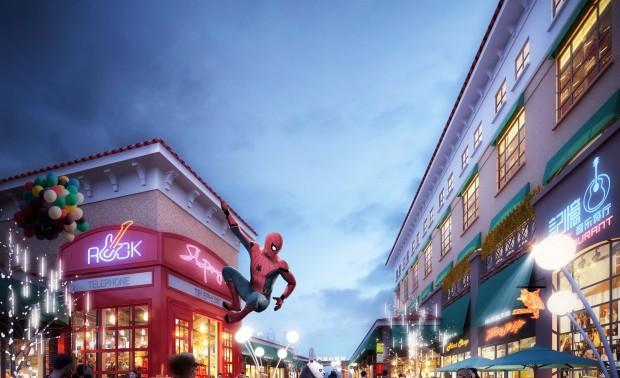 """南湾新天地商业街善于用各种漫威漫画中各种元素来打造优美的舒适的具有民族风情的户外环境。整个商业气氛显示出它独特的""""童话世界""""的味道,寓意着快乐、爱心、未来。"""