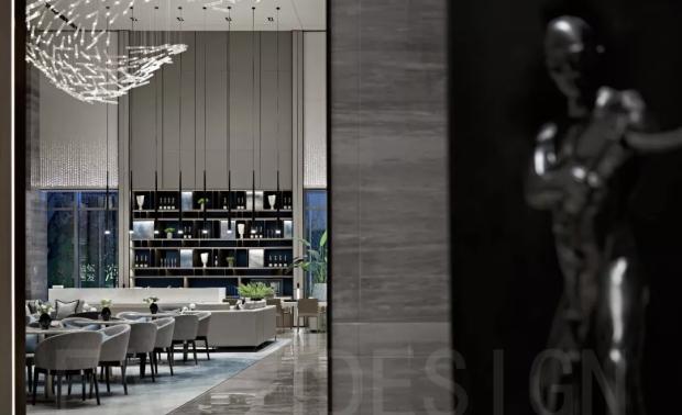 视 VISION   从建筑的设计语言出发,涉及青岛当地岛屿与海水的元素,将其艺术化处理,延伸至室内。